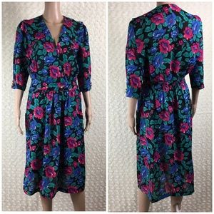 Vintage Breli Empire Floral Dress ILGWU  Sz 10